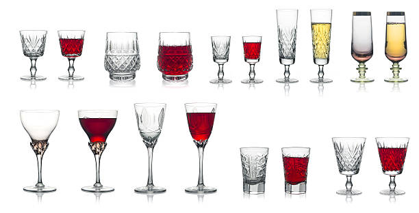 Set glass of wine glasses and champagne. Isolated. stock photo
