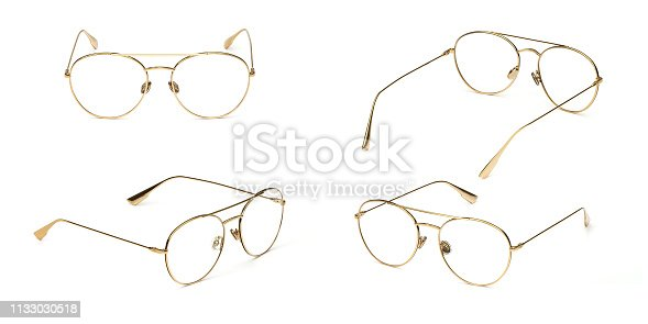 1047544590 istock photo Set glasses gold metal material business style transparent isolated on white background. Collection fashion office eye glasses 1133030518