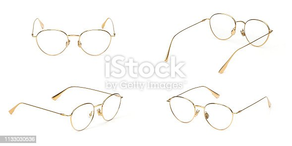 1047544590 istock photo Set glasses gold metal material business style transparent isolated on white background. Collection fashion office eye glasses 1133030536