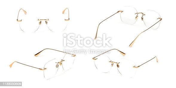 1047544590 istock photo Set glasses gold metal material transparent isolated on white background. Collection fashion office eye glasses 1133030509