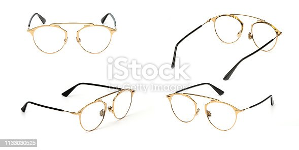 1047544590 istock photo Set glasses gold metal material transparent isolated on white background. Collection fashion office eye glasses 1133030525