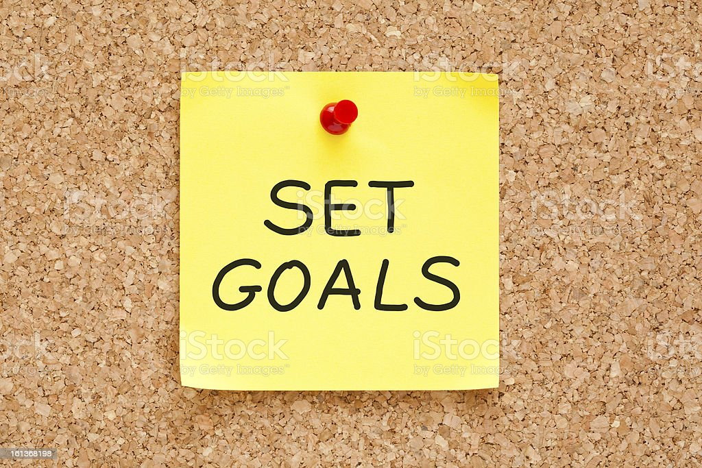 Set Goals Sticky Note royalty-free stock photo