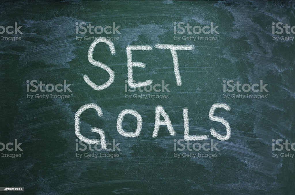 Set Goals Words On Chalkboard Background Royalty Free Stock Photo