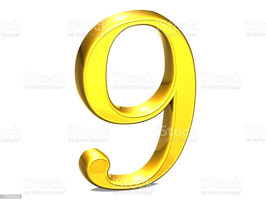 3D Set Gold Number on white background royalty-free stock photo