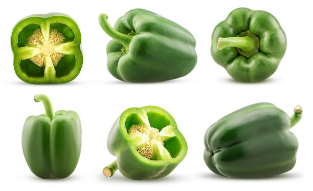 Set green bell pepper cut in half, whole stock photo