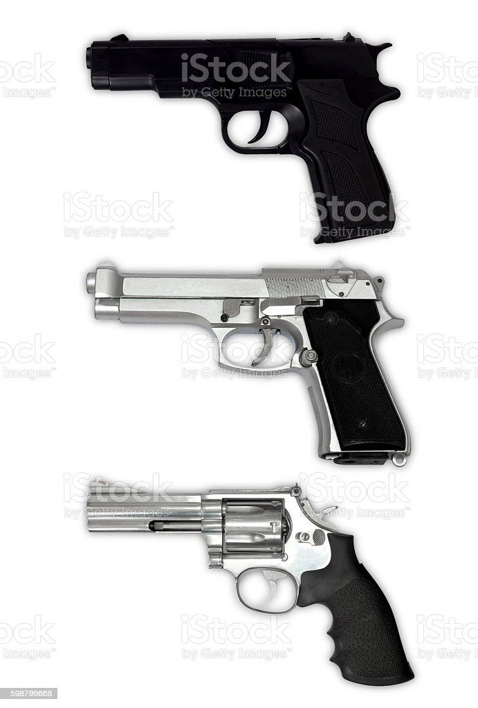 Juego de pistola aislado sobre un fondo blanco - foto de stock
