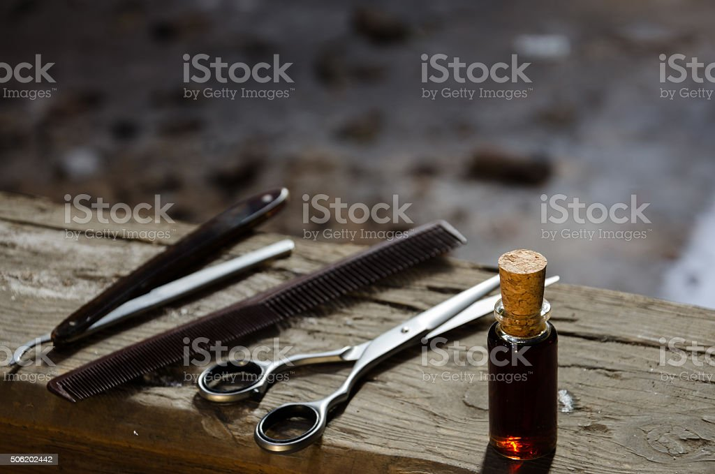 Set hair standing on the old wooden beam stock photo