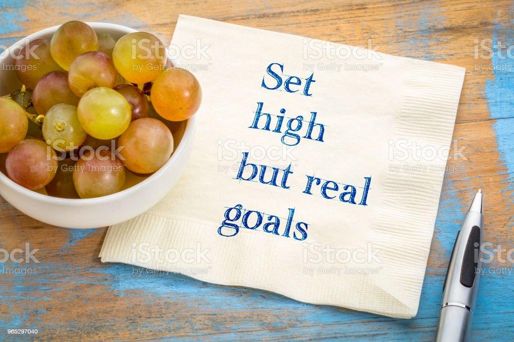 Set high, but real goals zbiór zdjęć royalty-free
