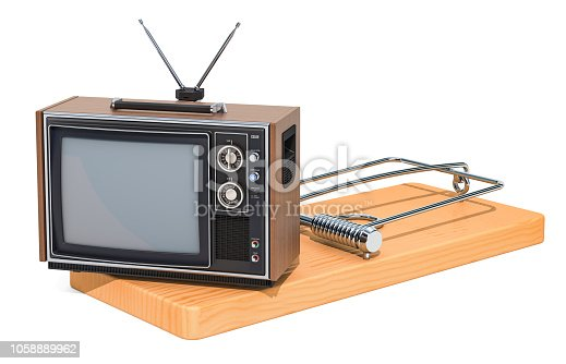 istock TV set inside mousetrap. TV dependence concept, 3D rendering isolated on white background 1058889962