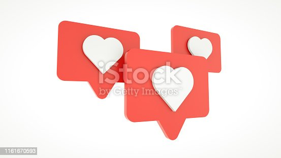 istock Set Like heart icon on a red pin isolated on white background. 3d rendering 1161670593