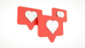 Set Like heart icon on a red pin isolated on white background. 3d rendering. Social media concept.