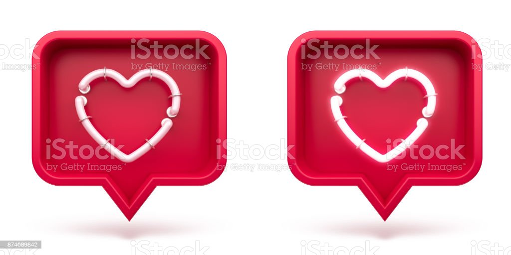 Set Like heart icon on a red pin isolated on white background. Neon Like symbol. 3d render royalty-free stock photo