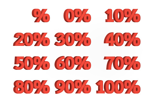istock set of 0% - 100% red percent sale label isolated on white background, discount promotion symbol 1201642718