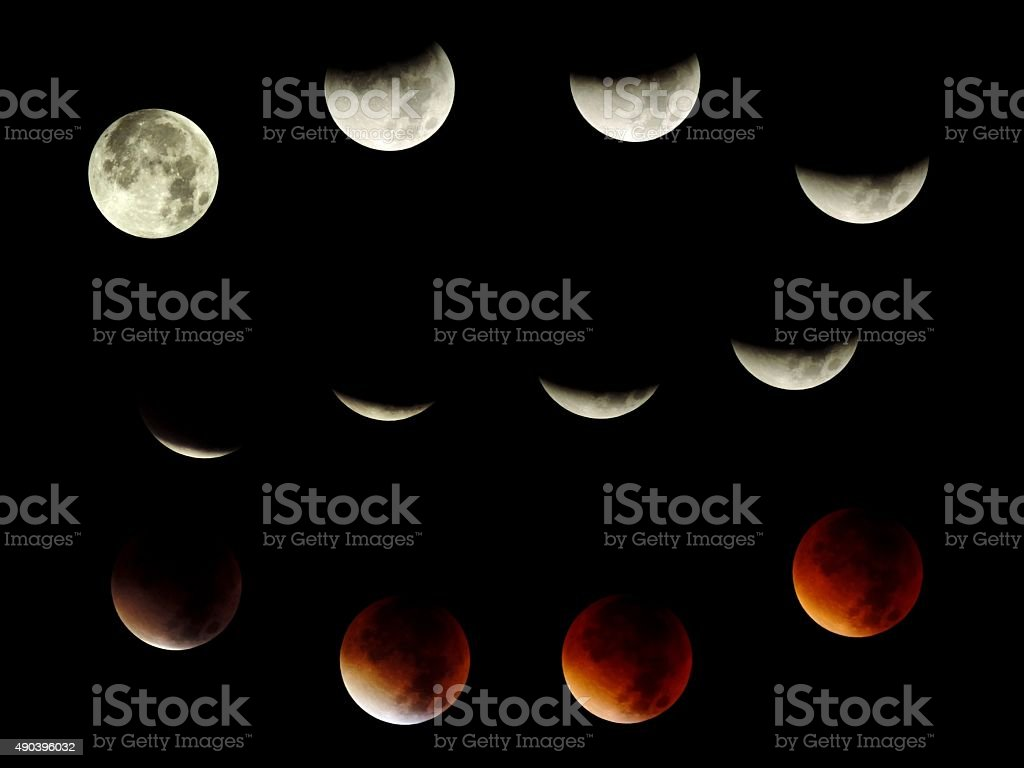 Set of 12 different phases of a total lunar eclipse 27-28 september...