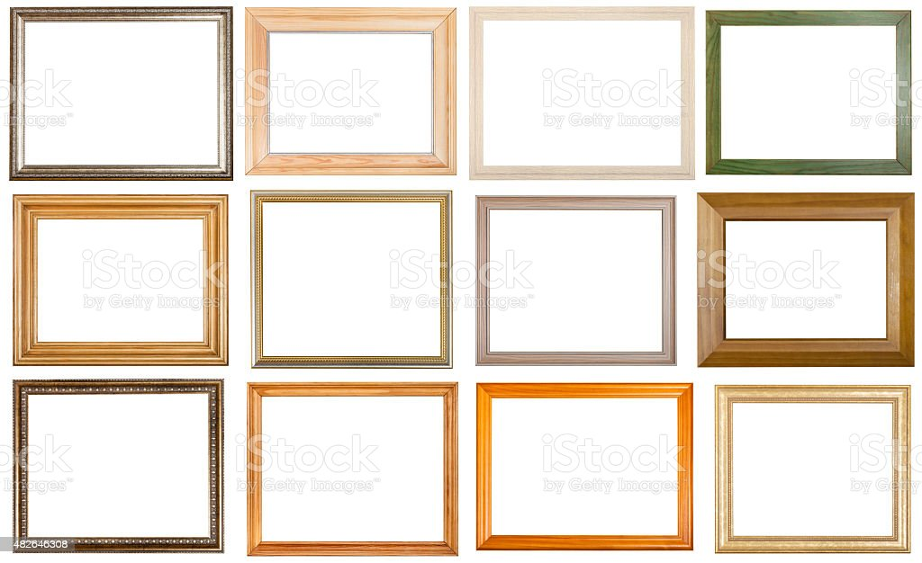 set of 12 pcs various wooden picture frames stock photo