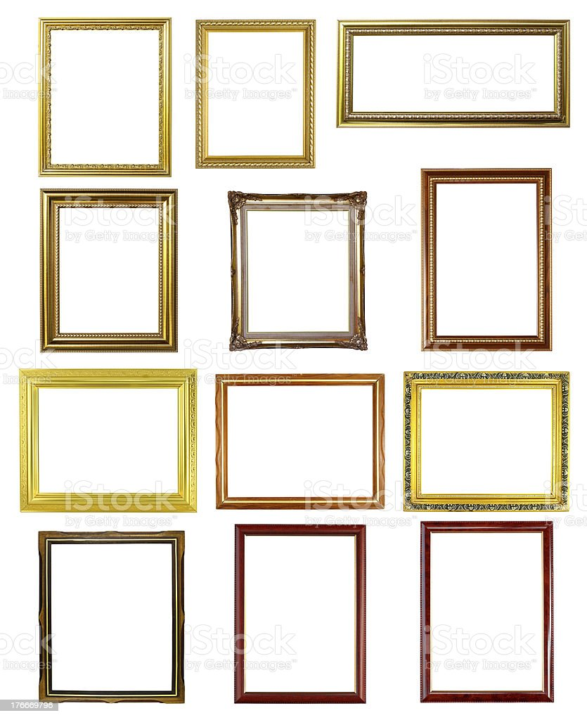 set of 12 picture frames on white background royalty-free stock photo