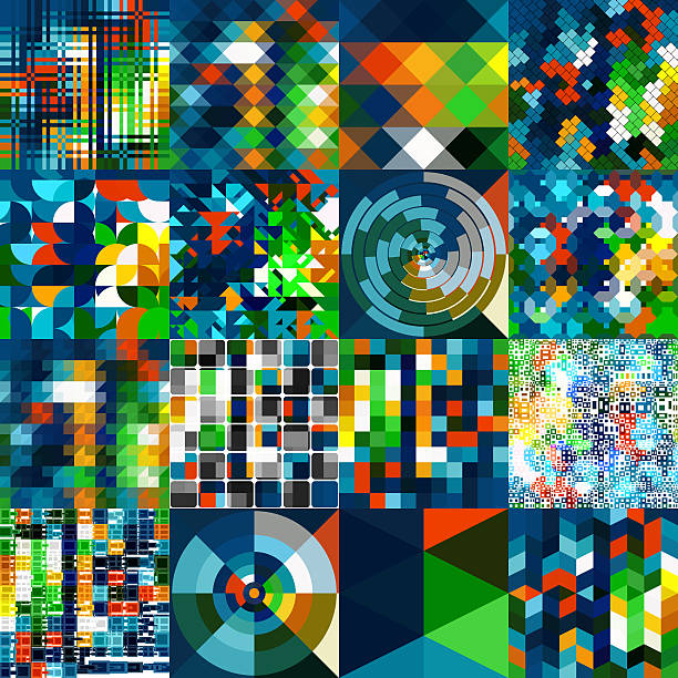 Set of 16 Patterns using the Same Colors stock photo