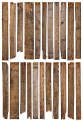 istock Set of 22 unique long rustic weathered wood plank with rusty nails 1082044476