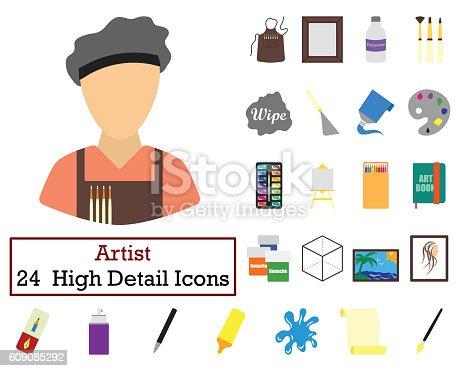 istock Set of 24  Artist Icons 609085292