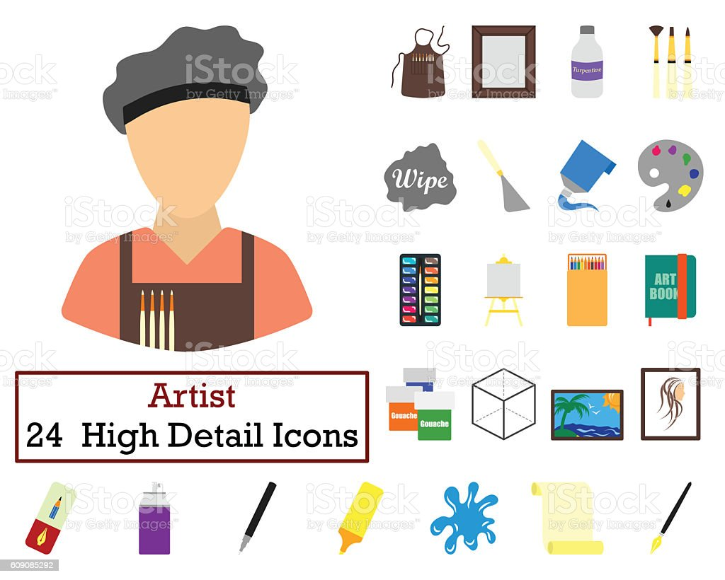 Set of 24  Artist Icons stock photo
