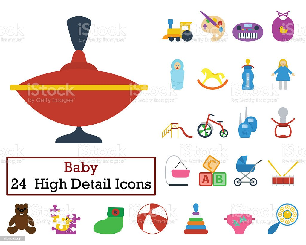 Set of 24 Baby Icons stock photo