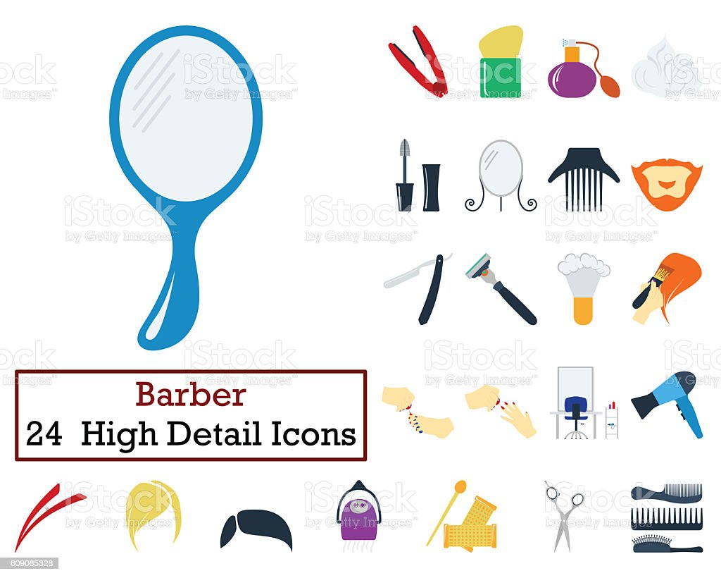 Set of 24 Barber Icons stock photo