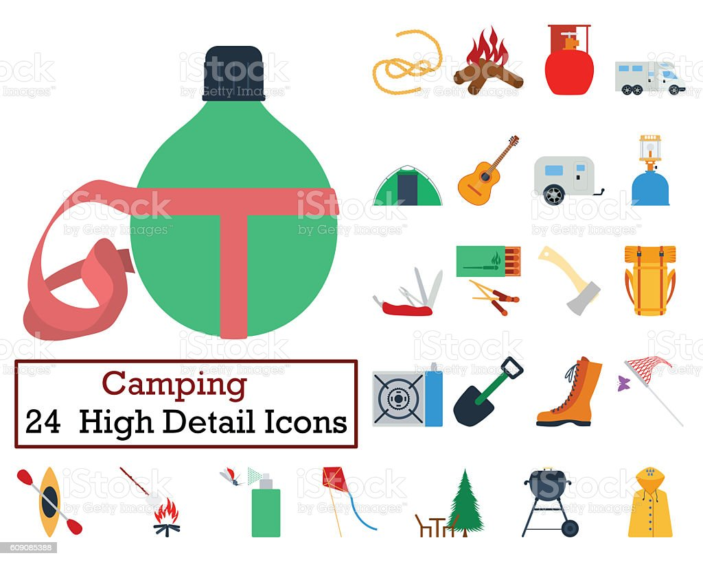 Set of 24 Camping Icons stock photo