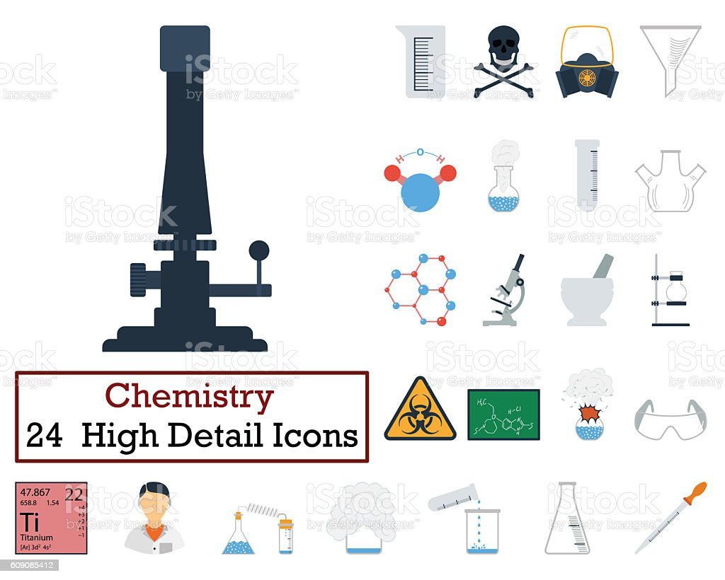 Set of 24 Chemistry Icons stock photo