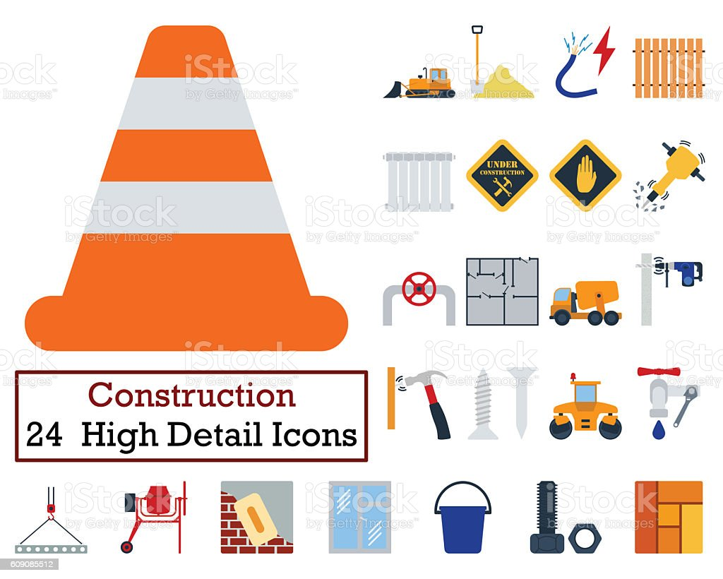 Set of 24 Construction Icons stock photo