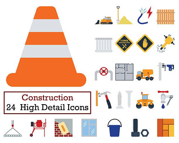 Set of 24 Construction Icons stock photo