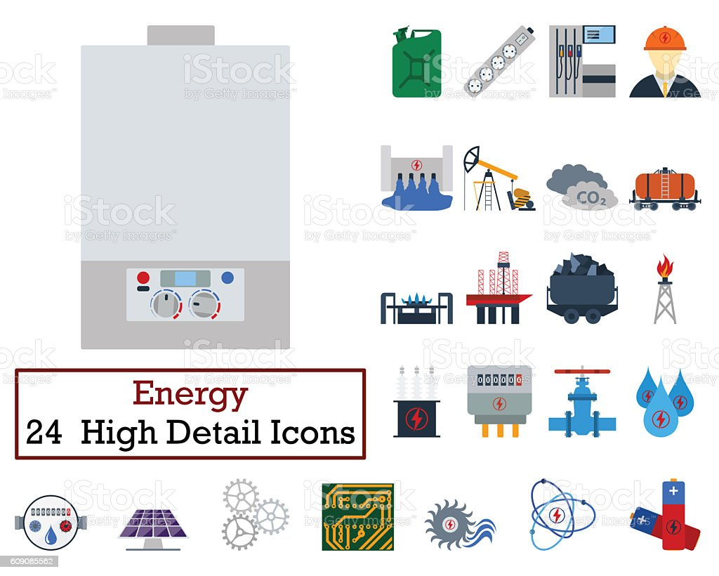 Set of 24 Energy Icons stock photo