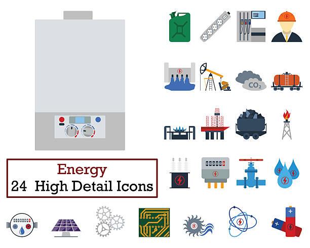 24 에너지 아이콘 세트 스톡 사진