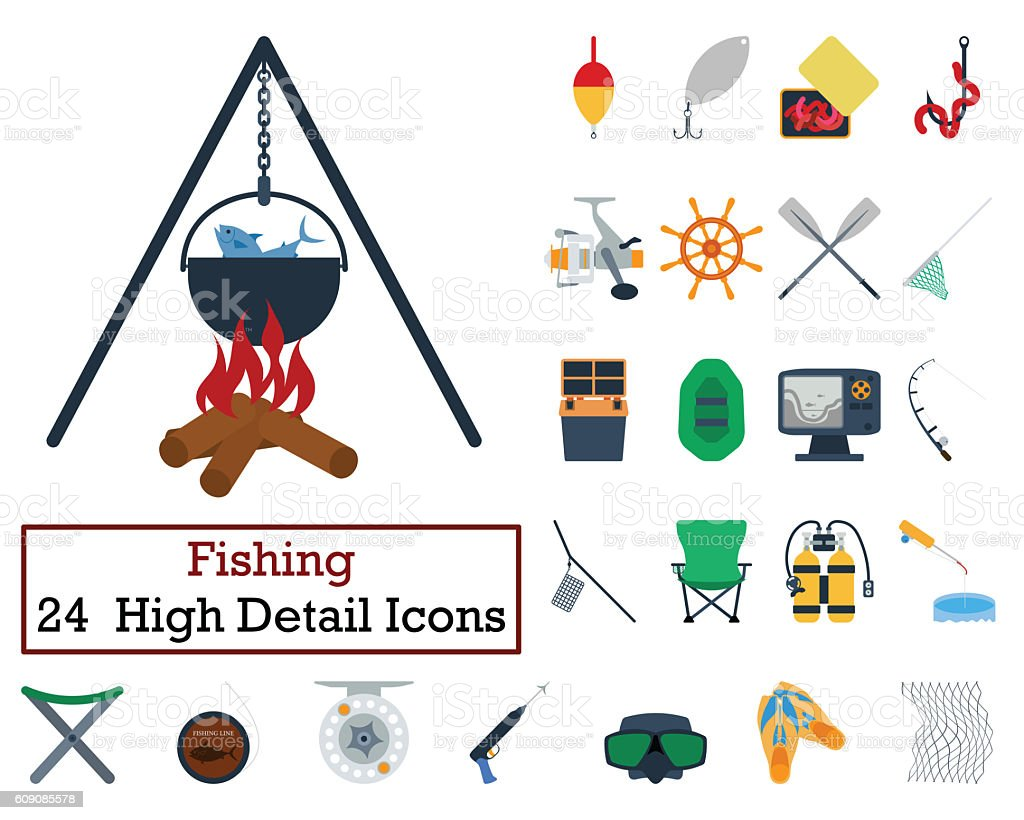 Set of 24 Fishing Icons stock photo
