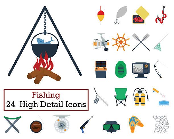 Set of 24 Fishing Icons - foto stock