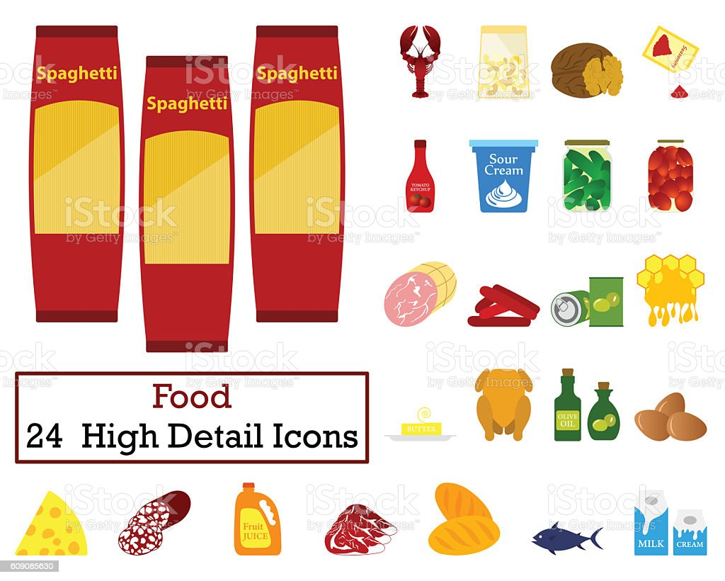 Set of 24 Food Icons stock photo