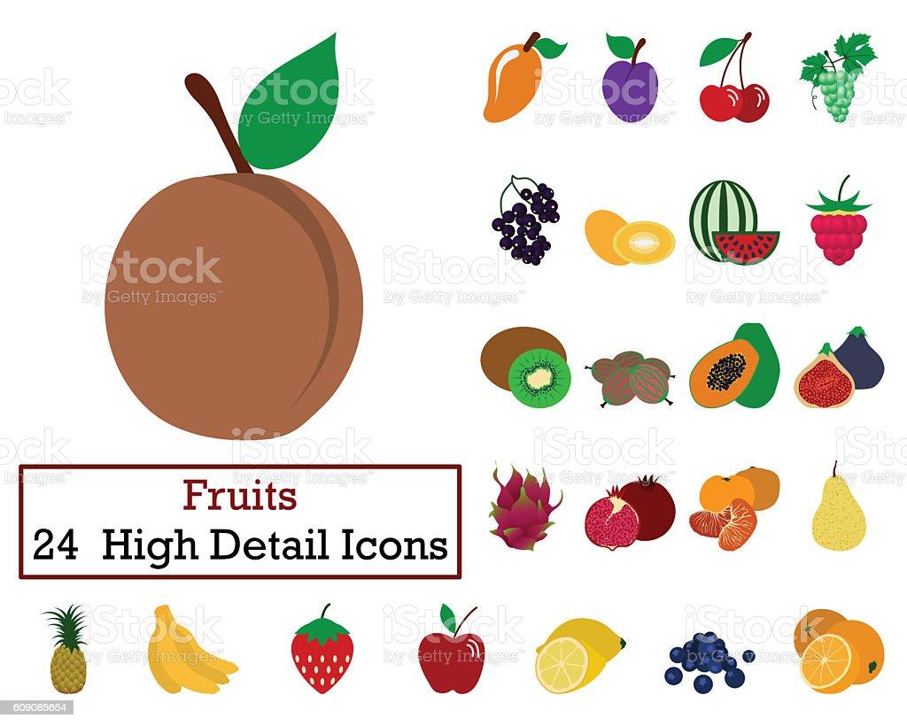Set of 24 Fruits Icons stock photo