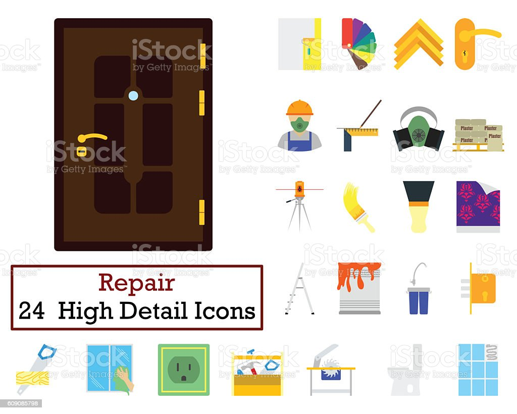 Set of 24 Housing repairs Icons stock photo