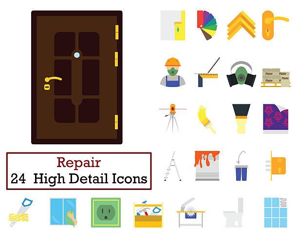 Set of 24 Housing repairs Icons 스톡 사진