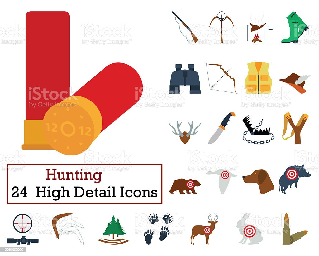 Set of 24 Hunting Icons stock photo