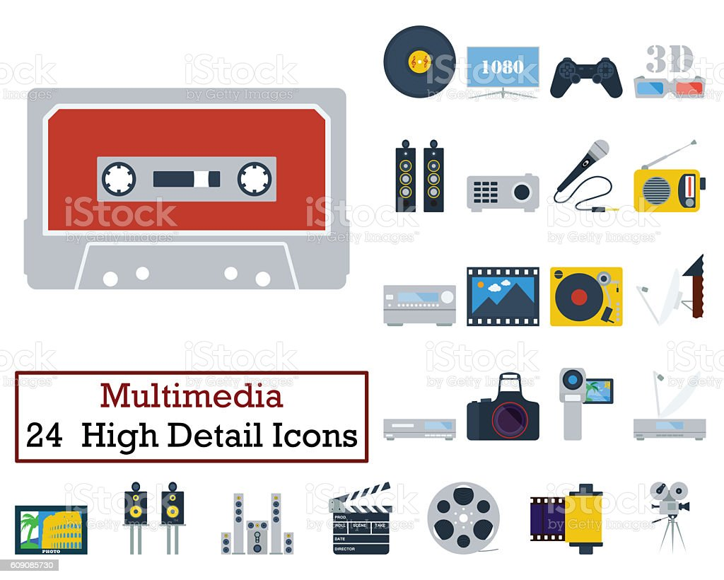 Set of 24 Multimedia Icons stock photo