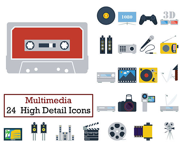 Set of 24 Multimedia Icons 스톡 사진