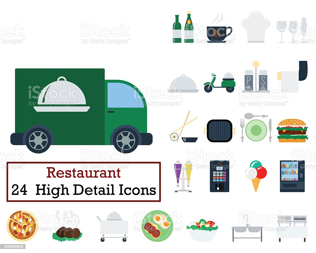 Set of 24 Restaurant icons stock photo