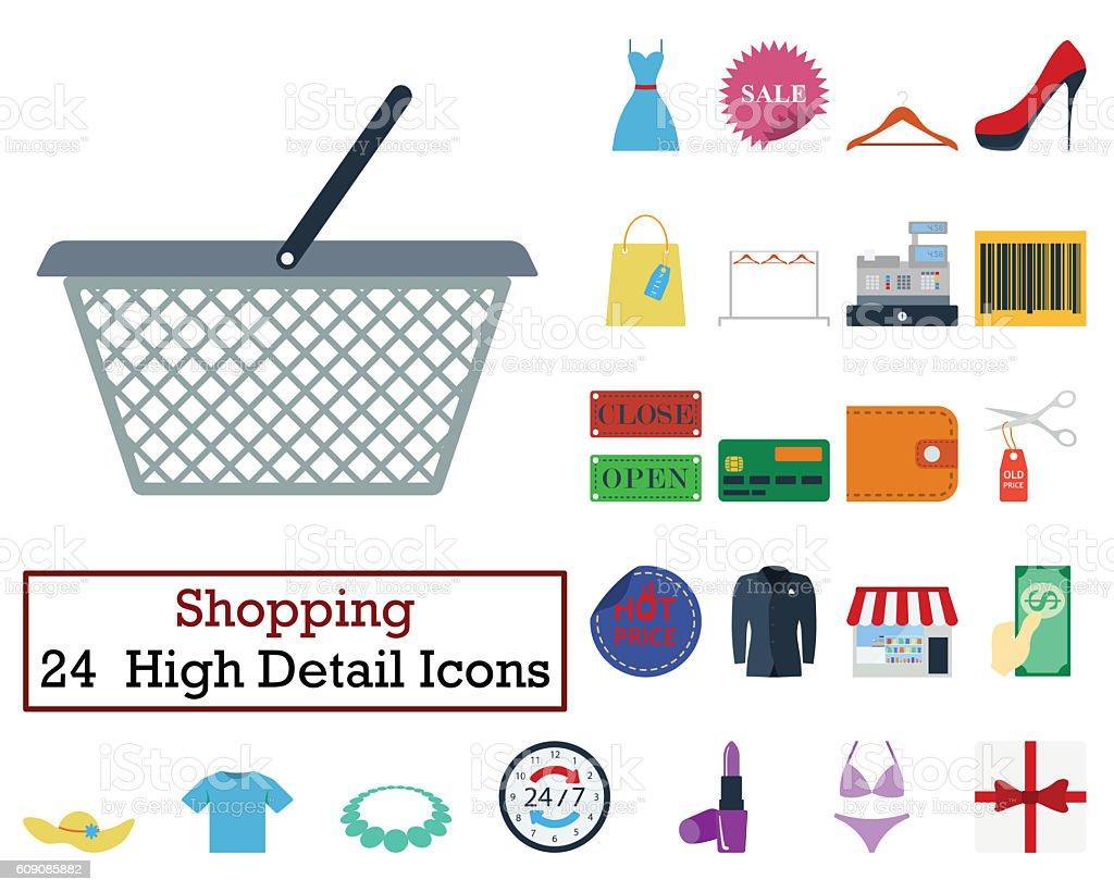 Set of 24 Shopping icons stock photo