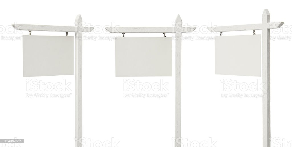 Set of 3 Angled Blank Real Estate Signs on White stock photo