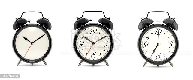 istock Set of 3 black alarm clocks 863756976