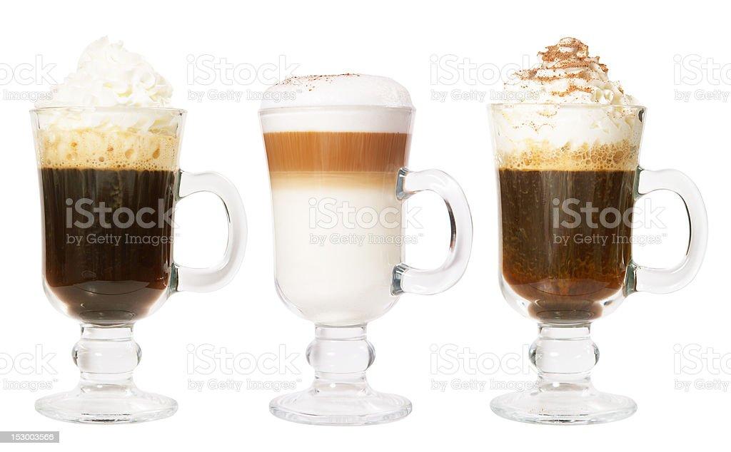 Set of 3 irish coffee royalty-free stock photo