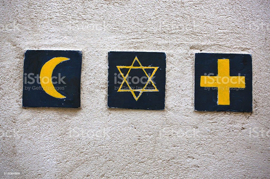 Set of 3 religious symbols stock photo