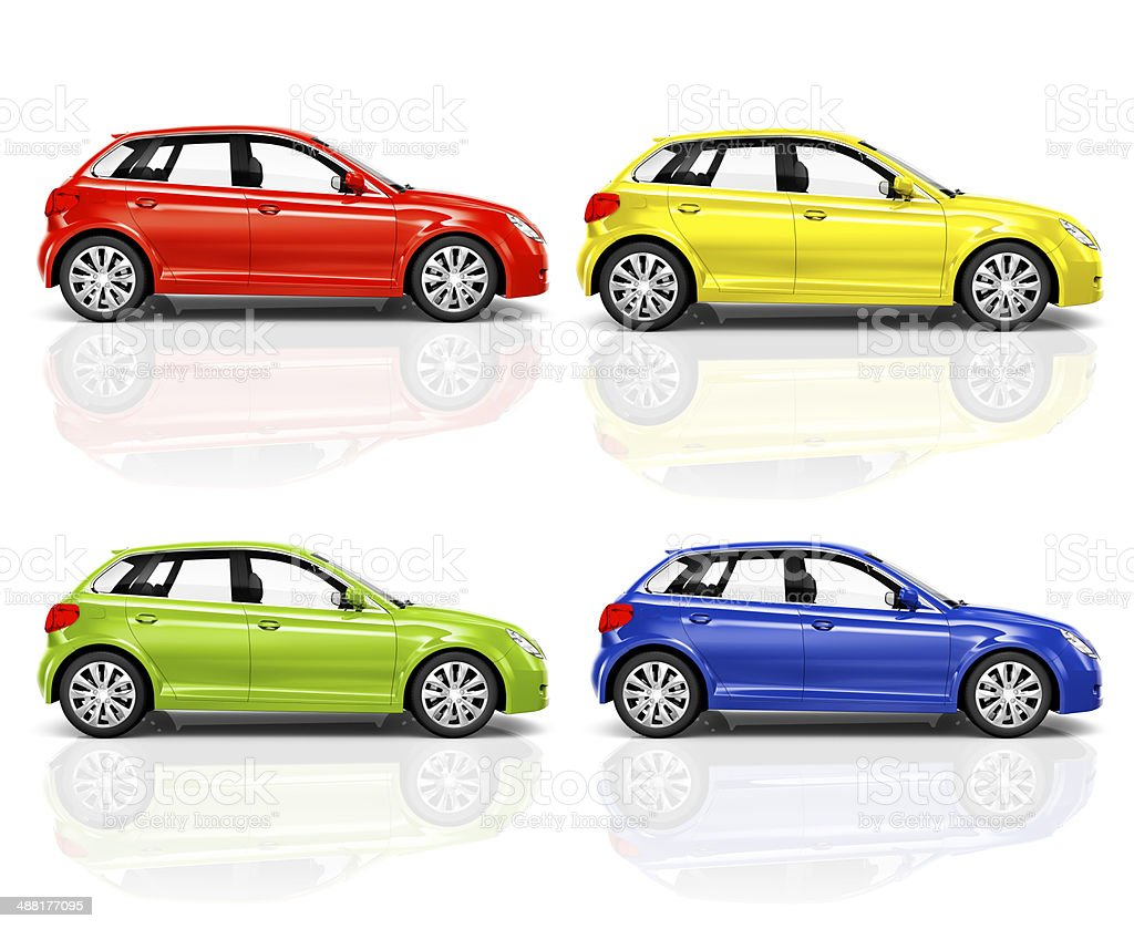 Set of 3D Hatchback Car stock photo