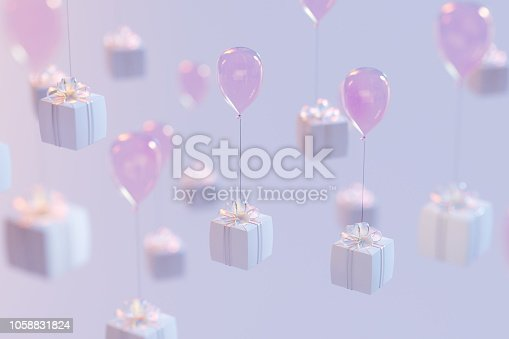 istock Set of 3d rendering gift boxes with a tape. isolated on colorful background. 1058831824