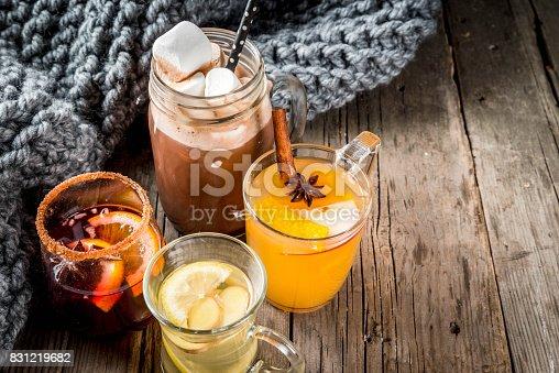 istock Set of 4 autumn drinks 831219682